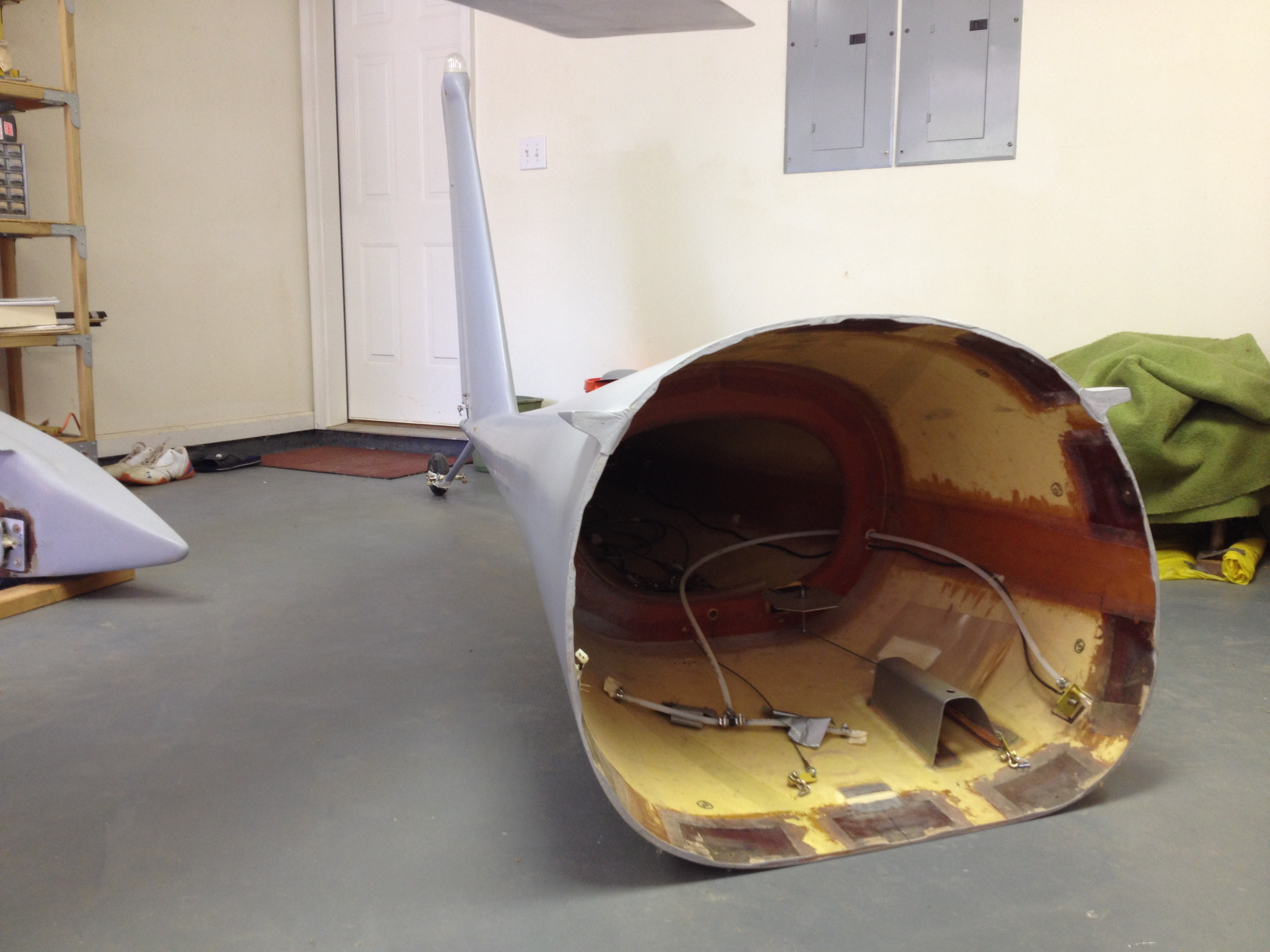 e Looking into rear fuselage